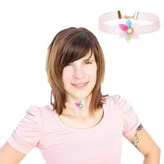 Halsband Halskette Damen Mädchen Kette Choker Blumen Spitze - rosa
