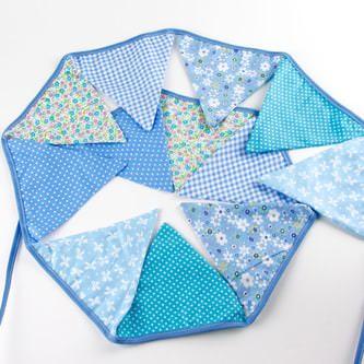 Wimpel Girlande Wimpelkette Banner Vintage - hellblau